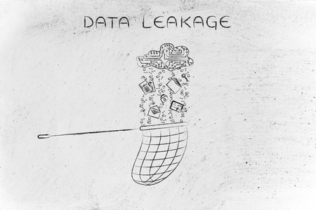 leakage: data leakage: net collecting files falling from a cloud made of circuits Stock Photo