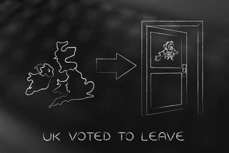 voted: UK voted to leave, United Kingdom next to an arrow indicating an open door with European Union map on it to exit