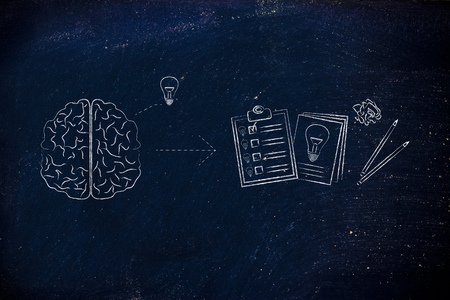 creative brain: brain with ideas plus pen and paper is all you need to succeed, the creative process caption