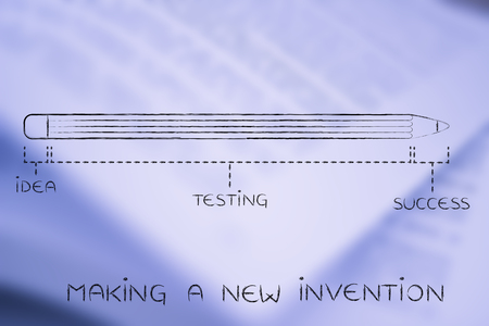 coming up with: making a new invention: diagram with pencil metaphor, long testing phase after coming up with an idea before reaching success Stock Photo
