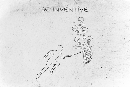 inventive: person trying to collect lightbulbs (symbol of ideas) with a butterfly net, metaphor of being creative and inventive Stock Photo