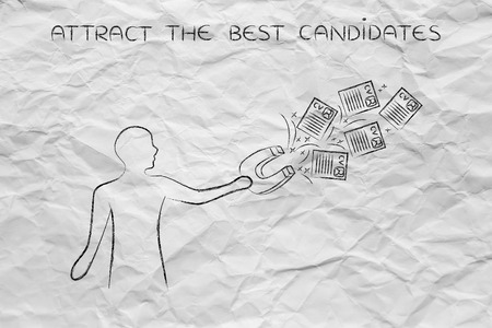 attract: person trying to attract resumes with a big magnete, metaphor of the recruitment process catching the best talents