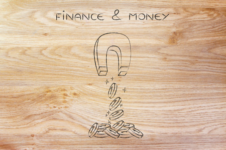 attract: trying to attract money with a big magnet, metaphor of investing well or finding good investor money Stock Photo