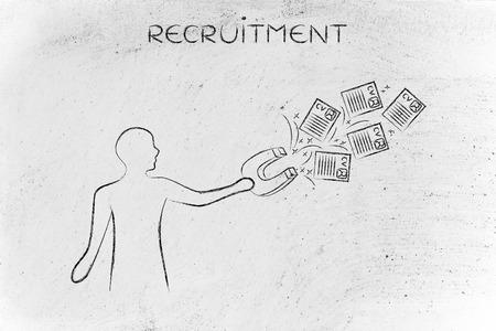 competencias laborales: persona que intenta atraer hojas de vida con una gran magnete, metáfora del proceso de contratación la captura de los mejores talentos