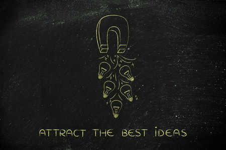 inventive: trying to attract lightbulbs (symbol of ideas) with a big magnet, metaphor of being creative and inventive