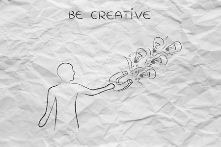 inventive: person trying to attract lightbulbs (symbol of ideas) with a big magnet, metaphor of being creative and inventive
