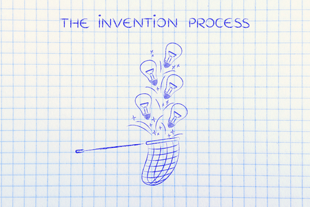 inventiveness: person trying to collect lightbulbs (symbol of ideas) with a butterfly net, metaphor of being creative and inventive Stock Photo