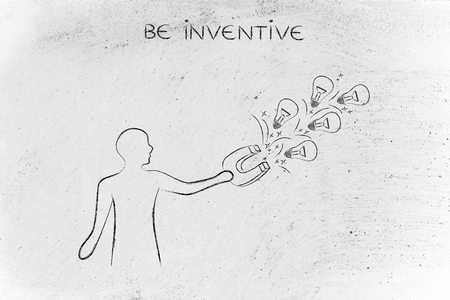 inventiveness: person trying to attract lightbulbs (symbol of ideas) with a big magnet, metaphor of being creative and inventive