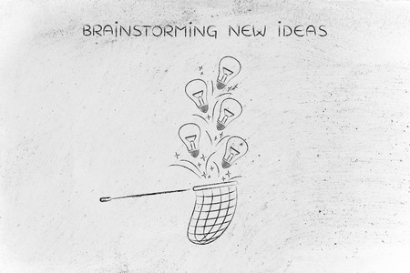 inventive: trying to collect lightbulbs (symbol of ideas) with a butterfly net, metaphor of being creative and inventive