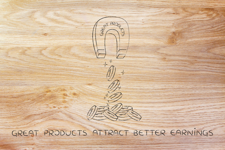 attracting: great products attracting money like a magnet, metaphor of how to achieve success and good profits Stock Photo