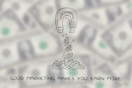 attracting: good marketing attracting money like a magnet, metaphor of how to achieve success and good profits