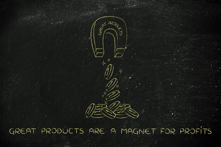 great products attracting money like a magnet, metaphor of how to achieve success and good profits Stock Photo