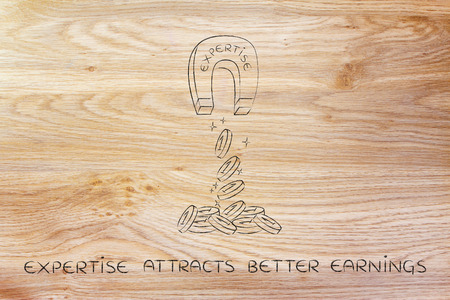attracting: expertise attracting money like a magnet, metaphor of how to achieve success and good profits