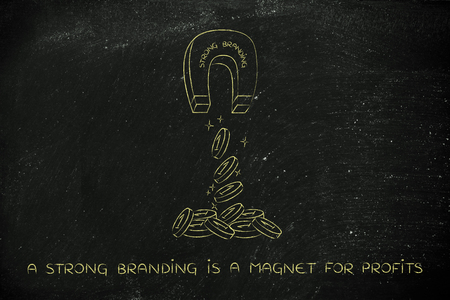 attracting: strong branding attracting money like a magnet, metaphor of how to achieve success and good profits