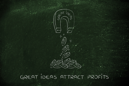 attracting: great ideas attracting money like a magnet, metaphor of how to achieve success and good profits