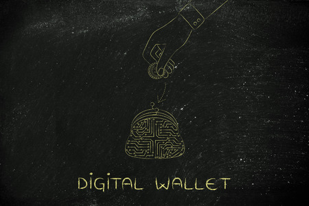 circuitos electronicos: digital payment illustration with coin purse made of electronic circuits and hand dropping money into it