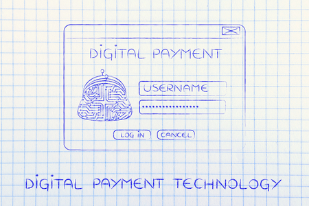 popup: digital payment pop-up window design with coin purse made of electronic circuits and login form Stock Photo