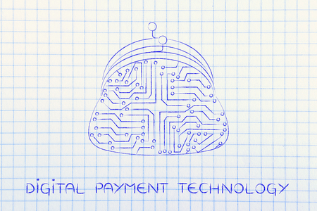 coin purse: digital payment illustration with coin purse made of electronic circuits Stock Photo