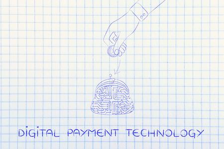 circuitos electronicos: Ilustraci�n digital de pago con monedero de la moneda hecha de circuitos electr�nicos y ca�da de la mano dinero en ella