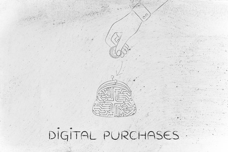 coin purse: digital payment illustration with coin purse made of electronic circuits and hand dropping money into it