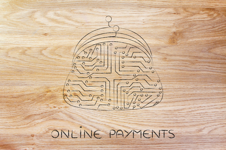 circuitos electronicos: Ilustraci�n digital de pago con monedero de la moneda hecha de circuitos electr�nicos