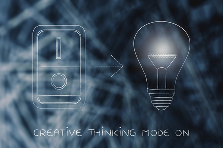 elaboration: idea lightbulb with switch turned on and light flare, concept of activating solutions or imagination Stock Photo