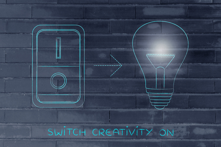 activating: idea lightbulb with switch turned on and light flare, concept of activating solutions or imagination Stock Photo