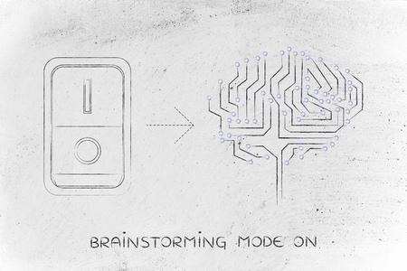 leds: cerebro circuito artificial con leds y el interruptor de encendido, el concepto de la activaci�n de la intuici�n o la creatividad