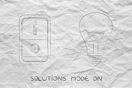 activating: idea lightbulb with switch turned on, concept of activating solutions or imagination