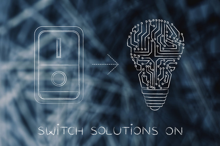 activating: idea lightbulb made of electronic circuits with switch turned on, concept of activating solutions or imagination