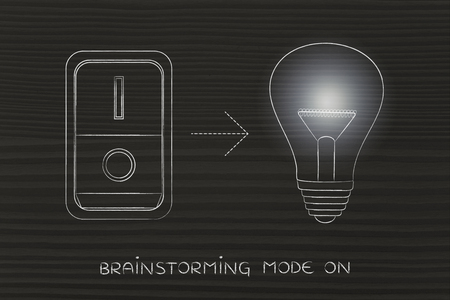 inventiveness: idea lightbulb with switch turned on and light flare, concept of activating solutions or imagination Stock Photo
