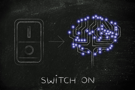 intuition: artificial circuit brain with leds and switch turned on, concept of activating intuition or creativity