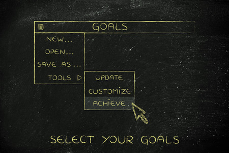 life metaphor: goals menu in dropdown style with pointer clicking the Activate option, metaphor of selecting the best choices for your life
