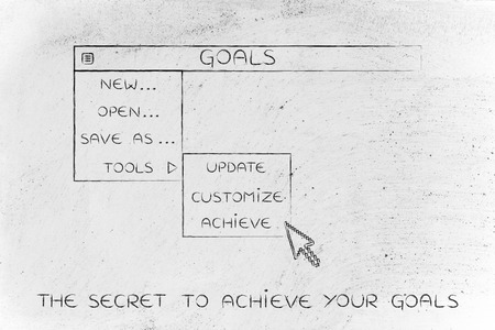 activate: goals menu in dropdown style with pointer clicking the Activate option, metaphor of selecting the best choices for your life