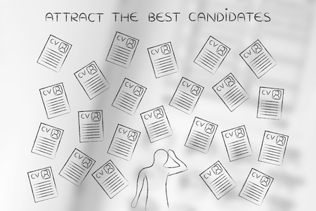 resumes: stressed recruiter surrounded by lots of curriculum vitae resumes, concept of selecting the right candidates and catching the best talents