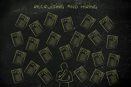 hesitation: hesitant thoughtful recruiter surrounded by lots of curriculum vitae resumes, concept of selecting the right candidates and catching the best talents Stock Photo