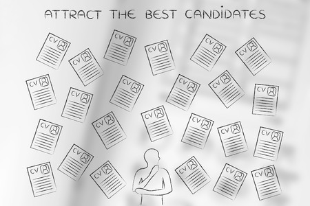 resumes: hesitant thoughtful recruiter surrounded by lots of curriculum vitae resumes, concept of selecting the right candidates and catching the best talents Stock Photo