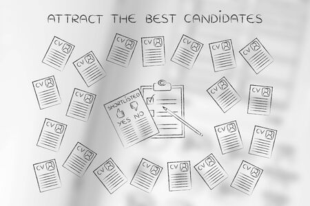 resumes: shortlist documents surrounded by lots of curriculum vitae resumes, concept of selecting the right candidates and catching the best talents Stock Photo