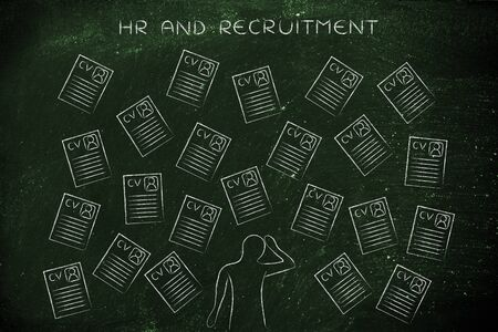 candidates: stressed recruiter surrounded by lots of curriculum vitae resumes, concept of selecting the right candidates and catching the best talents