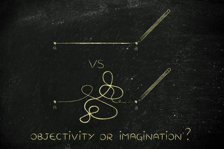 l�gica: diferentes tipos de l�neas que conectan el punto A al B, concepto de la l�gica frente a la creatividad