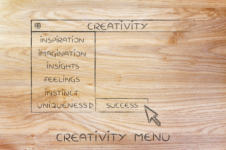 Creativity menu in dropdown style, metaphor of selecting and activating the best choices for your work Reklamní fotografie