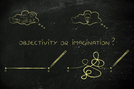 objectivity: different types of lines to connect point A to B, concept of rationality vs the creative process with data and idea thought bubbles