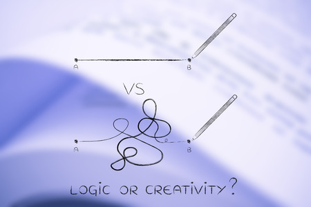 objectivity: different types of lines to connect point A to B, concept of logic versus creativity Stock Photo