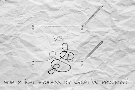 logic: different types of lines to connect point A to B, concept of logic versus creativity Stock Photo
