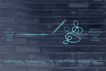 logica: lápiz de entre una recta y un desordenado marcas de líneas, el concepto de la lógica frente a la creatividad Foto de archivo