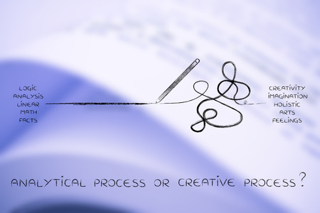 objectivity: pencil in between a straight and a messy line marks, concept of logic versus creativity