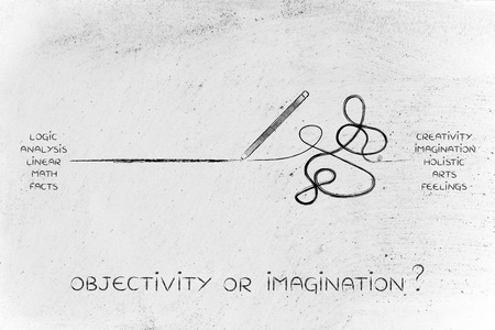 reasoning: pencil in between a straight and a messy line marks, concept of logic versus creativity