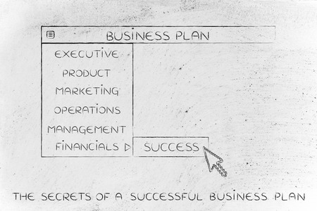 Business plan menu in dropdown style with pointer clicking the Success option, metaphor of selecting the best choices for your company