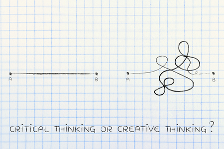 objectivity: different types of lines to connect point A to B, concept of rationality vs the creative process Stock Photo
