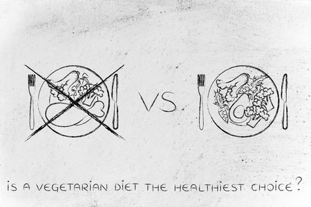 go for: alternative meals with meat option crossed out, concept of choosing to go for a vegeterian diet